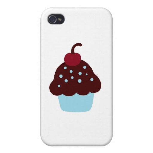 Cute Blue and Brown Birthday Cupcake iPhone 4/4S Cover