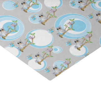Cute Blue and Gray Baby Owls | Shower Theme Tissue Paper