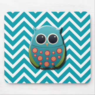 Cute Blue and Green Owl on Blue and White Chevron Mouse Pads