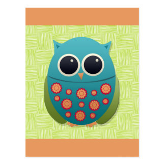 Cute Blue and Green Owl with Red and Yellow Flower Postcard