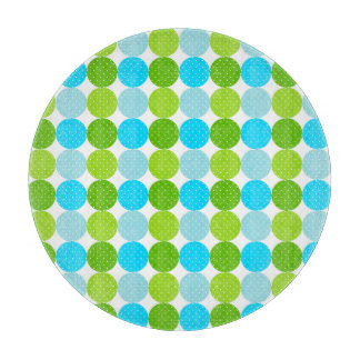 Cute Blue and Green Polka Dot Pattern Cutting Board