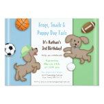 Cute Blue and Green Sporty Puppy Invitation 13 Cm X 18 Cm Invitation Card