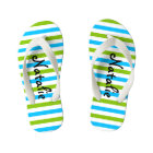 Cute Blue and Green Stripe Personalised Kid's Flip Flops