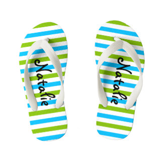 Cute Blue and Green Stripe Personalized Flip Flops
