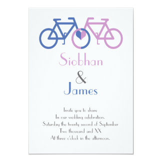Cute Blue And Pink Bike Love Heart Wedding Card