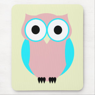 Cute Blue And Pink Owl Mousepad
