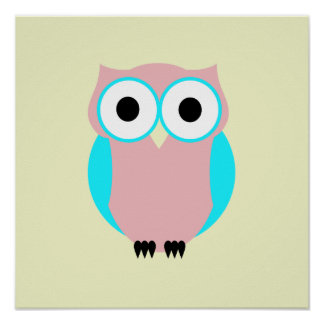 Cute Blue And Pink Owl Poster