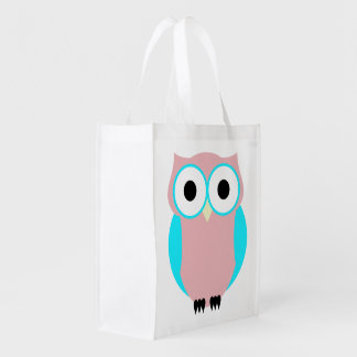 Cute Blue And Pink Owls Baby Shower Tote Bag
