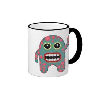 Cute Blue and Pink Toothy Smiling Coffee Monster Ringer Mug