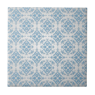 Cute Blue and Silver Damask Pattern Small Square Tile