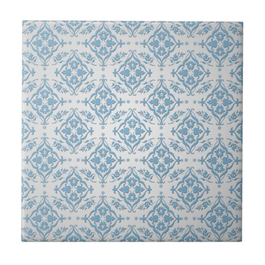 Cute Blue and Silver Damask Pattern Small Square