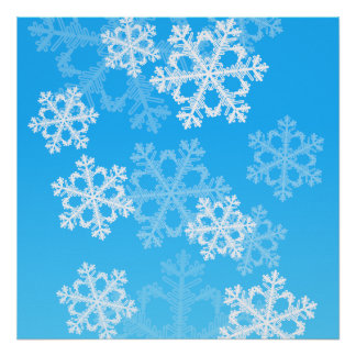 Cute blue and white Christmas snowflakes Print