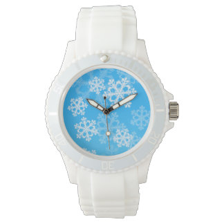 Cute blue and white Christmas snowflakes Wrist Watch