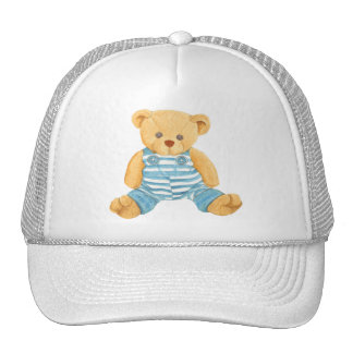 Cute Blue and White Overalls Teddy Bear Mesh Hats
