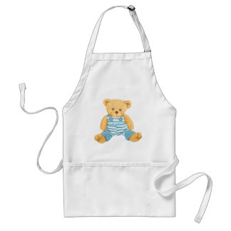 Cute Blue and White Overalls Teddy Bear Standard Apron