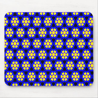 Cute Blue and Yellow Flower Pattern Mouse Mat
