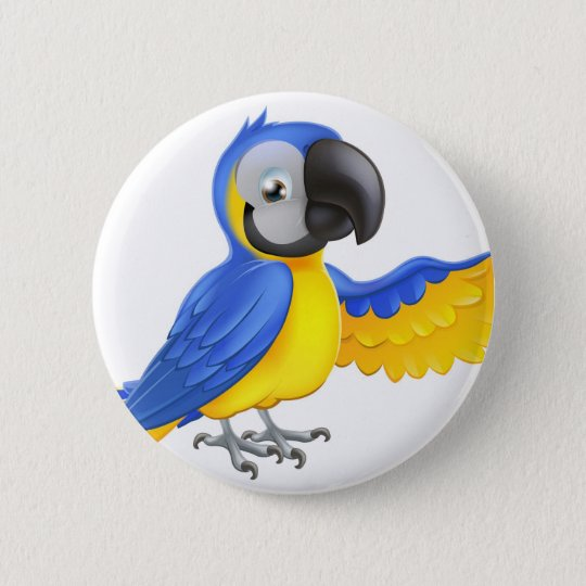 Cute blue and yellow parrot 6 cm round badge