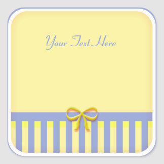 Cute Blue and Yellow Striped Sticker with Bow