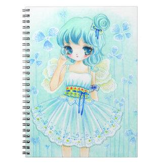 Cute blue anime fairy girl notebooks