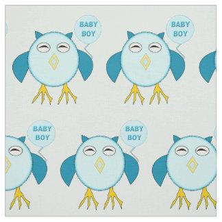 Cute Blue Baby Boy Owl Patterned Fabric