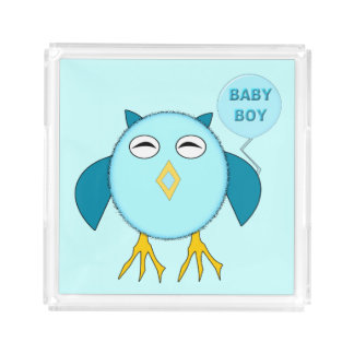 Cute Blue Baby Boy Owl Perfume Tray