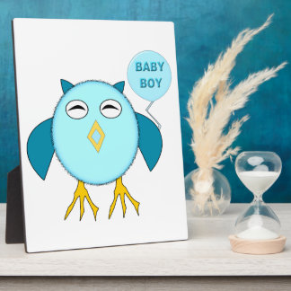 Cute Blue Baby Boy Owl Plaque