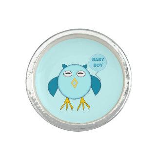 Cute Blue Baby Boy Owl Ring