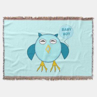 Cute Blue Baby Boy Owl Throw Blanket