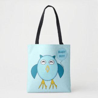 Cute Blue Baby Boy Owl Tote Bag