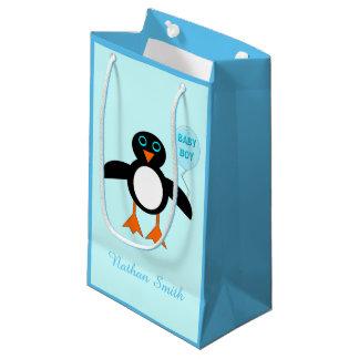 Cute Blue Baby Boy Penguin Custom Gift Bag