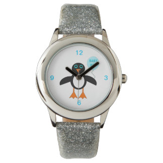 Cute Blue Baby Boy Penguin Glitter Watch