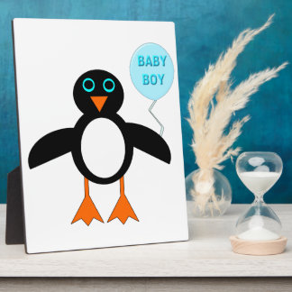 Cute Blue Baby Boy Penguin Plaque