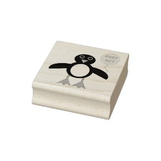 Cute Blue Baby Boy Penguin Wood Art Stamp