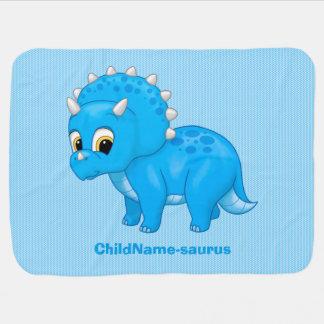Cute Blue Baby Brontosaurus Dinosaur Baby Blanket