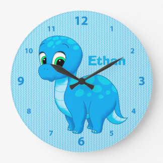 Cute Blue Baby Dinosaur Large Clock