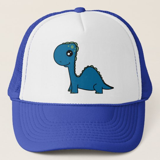 Cute Blue Baby Dinosaur Trucker Hat