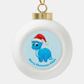 Cute Blue Baby Dinosaur with Santa Hat Ceramic Ball Christmas Ornament