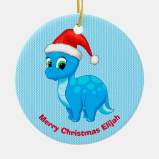 Cute Blue Baby Dinosaur with Santa Hat Christmas Ornament