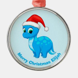 Cute Blue Baby Dinosaur with Santa Hat Christmas Ornament