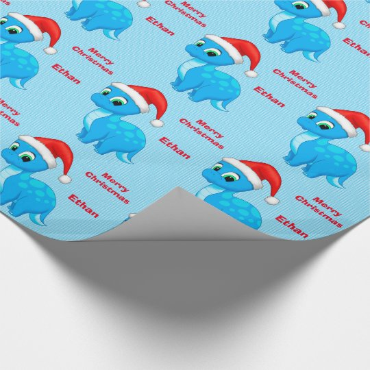 Cute Blue Baby Dinosour with Santa Hat Wrapping