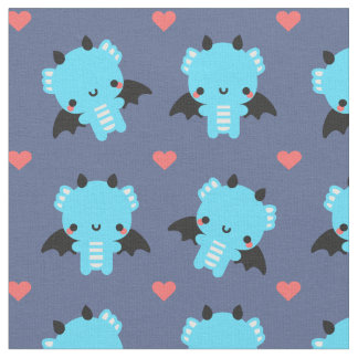 Cute Blue Baby Dragon with Blue Background Fabric