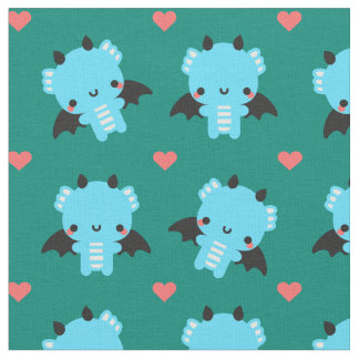 Cute Blue Baby Dragon with Green Background Fabric
