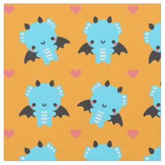 Cute Blue Baby Dragon with Orange Background Fabric