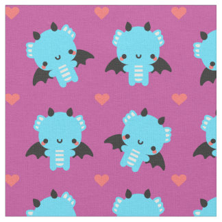 Cute Blue Baby Dragon with Pink Background Fabric