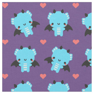 Cute Blue Baby Dragon with Purple Background Fabric