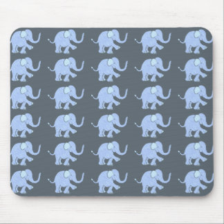 Cute Blue Baby Elephants Parade on Grey Background Mouse Mat
