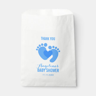 Cute Blue BABY FEET Heart BOY Baby Shower Favour Bags