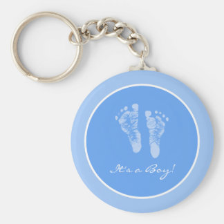 Cute Blue Baby Footprints Its a Boy Baby Shower Basic Round Button Key Ring