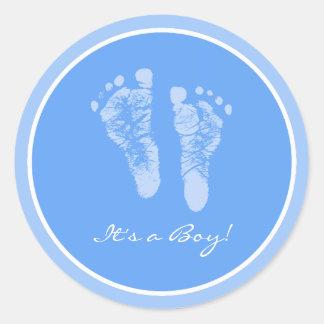 Cute Blue Baby Footprints Its a Boy Baby Shower Round Sticker
