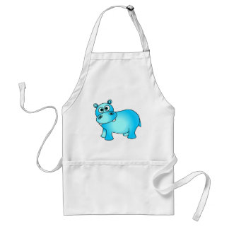Cute Blue Baby Hippo Standard Apron